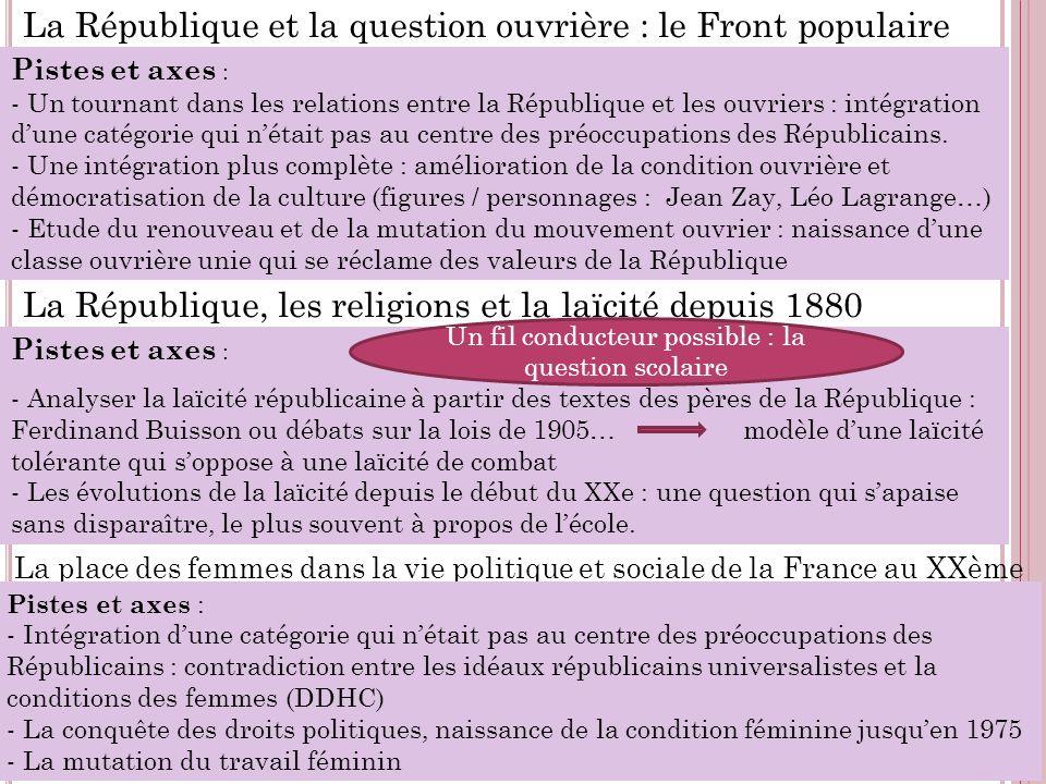 La République et la question ouvrière : le Front populaire Pistes et axes : - Un tournant dans les relations entre la République et les ouvriers : int