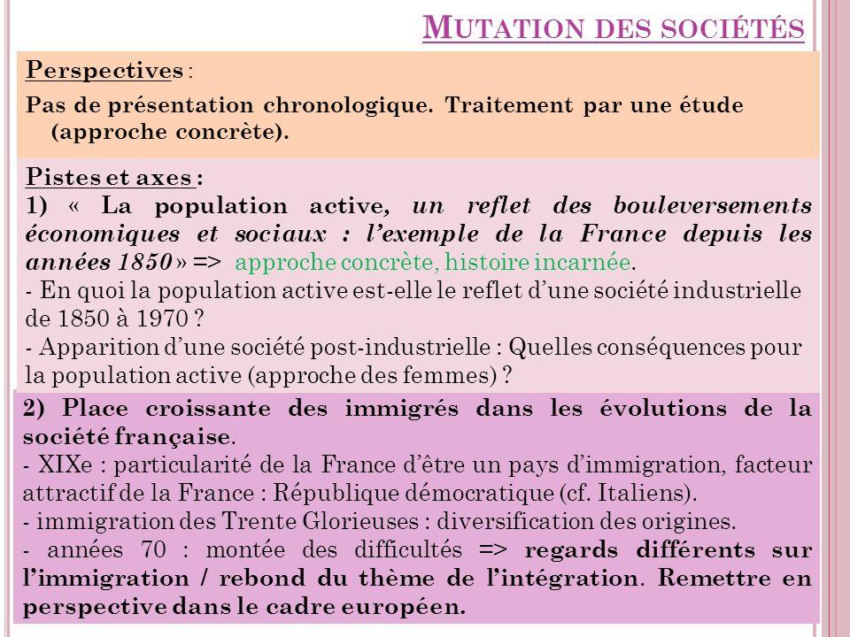 M UTATION DES SOCIÉTÉS Perspectives : Pas de présentation chronologique. Traitement par une étude (approche concrète). 2) Place croissante des immigré