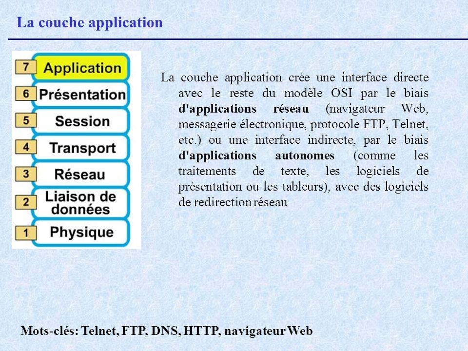 La couche application La couche application crée une interface directe avec le reste du modèle OSI par le biais d'applications réseau (navigateur Web,
