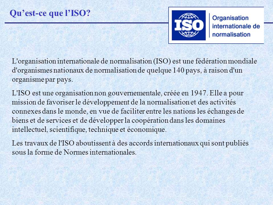 Quest-ce que lISO? L'organisation internationale de normalisation (ISO) est une fédération mondiale d'organismes nationaux de normalisation de quelque
