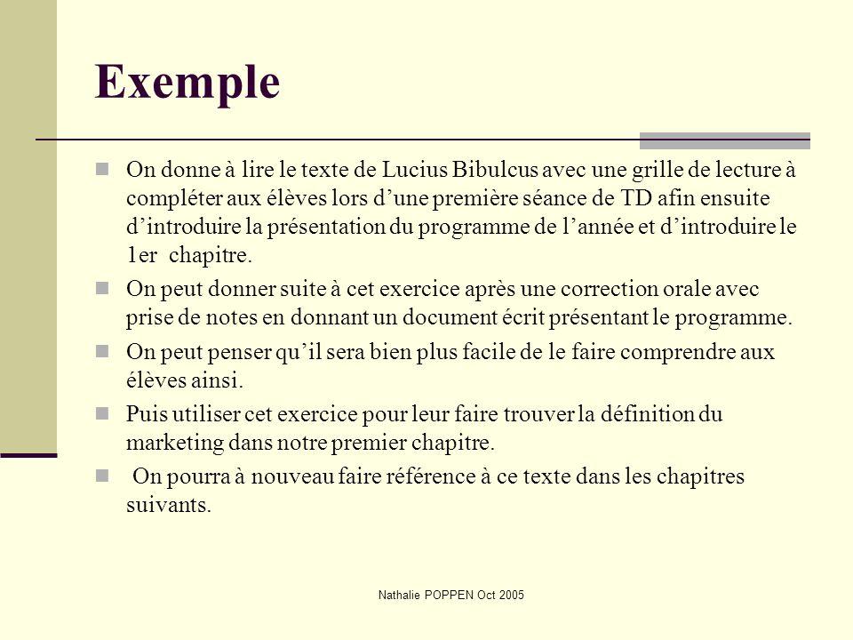 Nathalie POPPEN Oct 2005 Exemple On donne à lire le texte de Lucius Bibulcus avec une grille de lecture à compléter aux élèves lors dune première séan