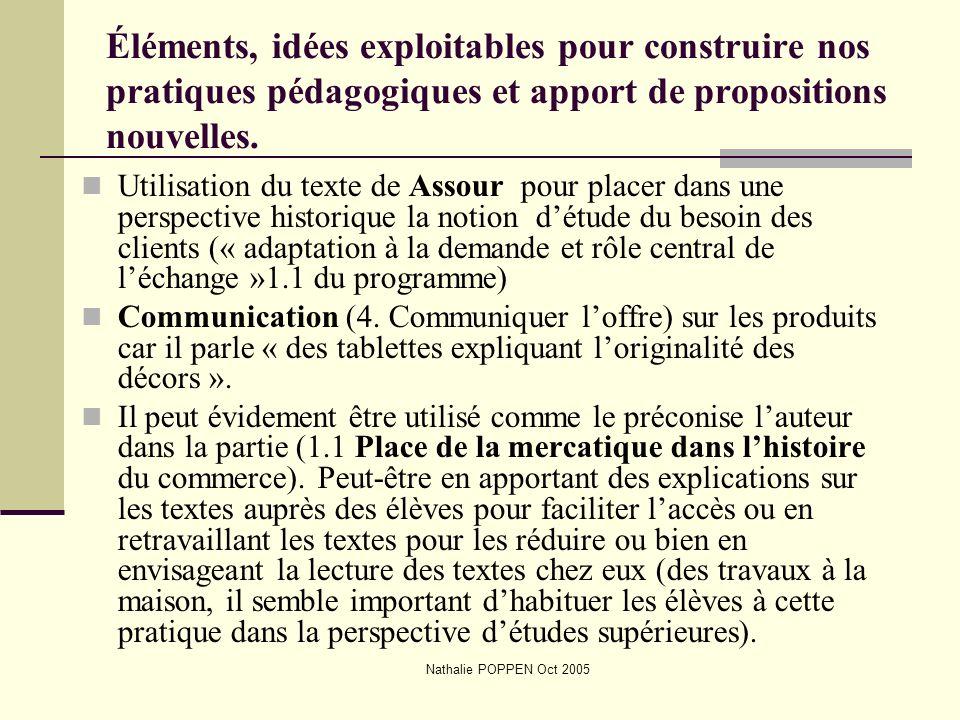 Nathalie POPPEN Oct 2005 Éléments, idées exploitables pour construire nos pratiques pédagogiques et apport de propositions nouvelles. Utilisation du t