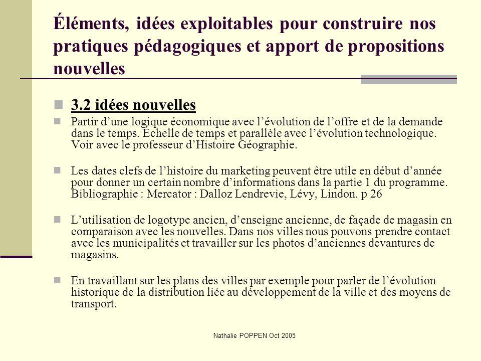 Nathalie POPPEN Oct 2005 Éléments, idées exploitables pour construire nos pratiques pédagogiques et apport de propositions nouvelles 3.2 idées nouvell