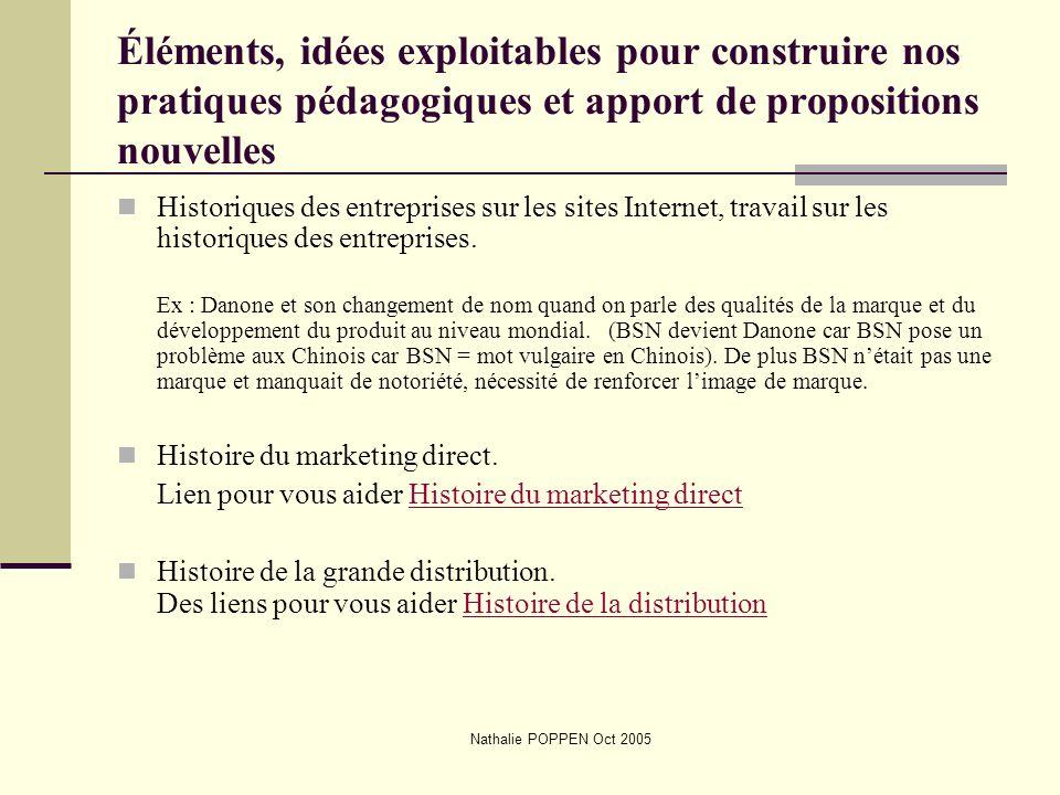 Nathalie POPPEN Oct 2005 Éléments, idées exploitables pour construire nos pratiques pédagogiques et apport de propositions nouvelles Historiques des e