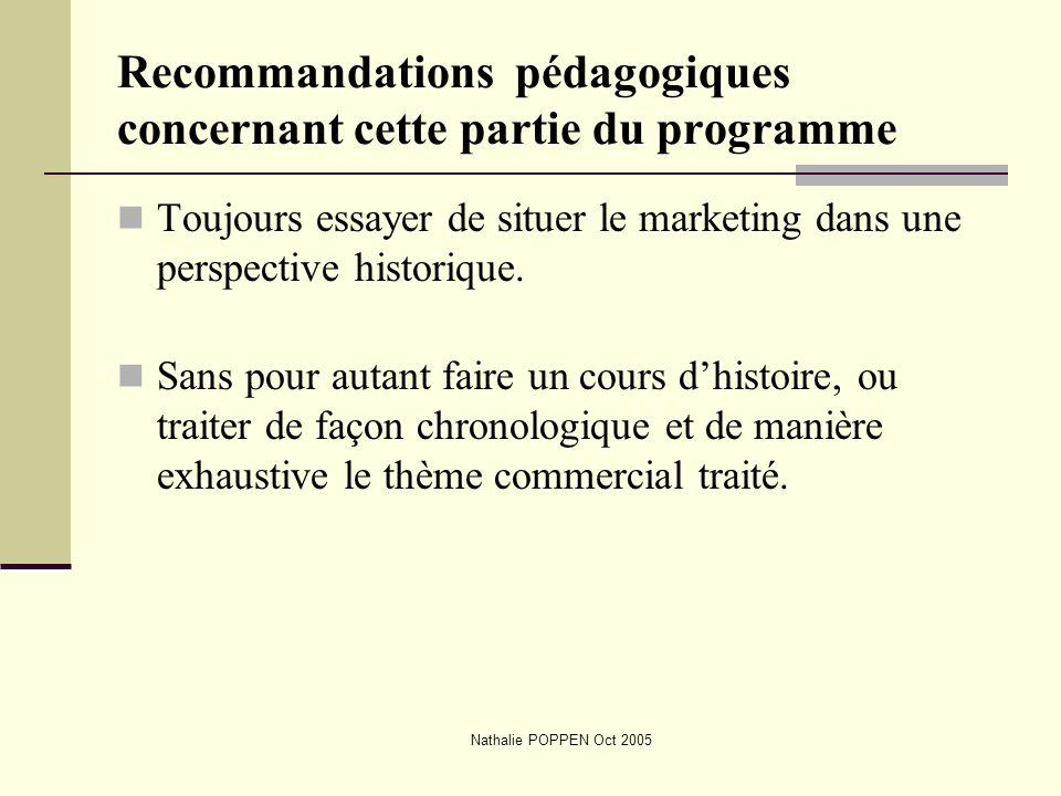 Nathalie POPPEN Oct 2005 Recommandations pédagogiques concernant cette partie du programme Toujours essayer de situer le marketing dans une perspectiv
