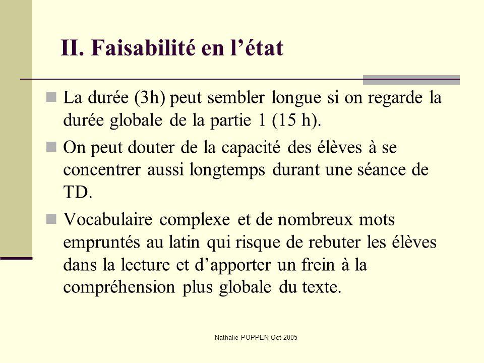 Nathalie POPPEN Oct 2005 II. Faisabilité en létat La durée (3h) peut sembler longue si on regarde la durée globale de la partie 1 (15 h). On peut dout