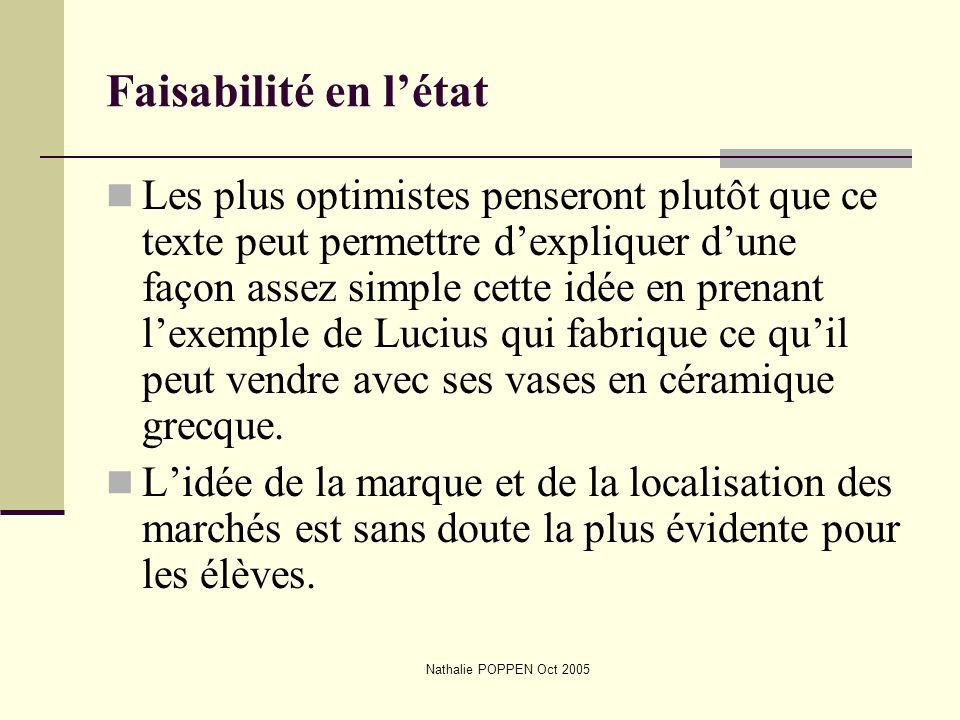 Nathalie POPPEN Oct 2005 Faisabilité en létat Les plus optimistes penseront plutôt que ce texte peut permettre dexpliquer dune façon assez simple cett