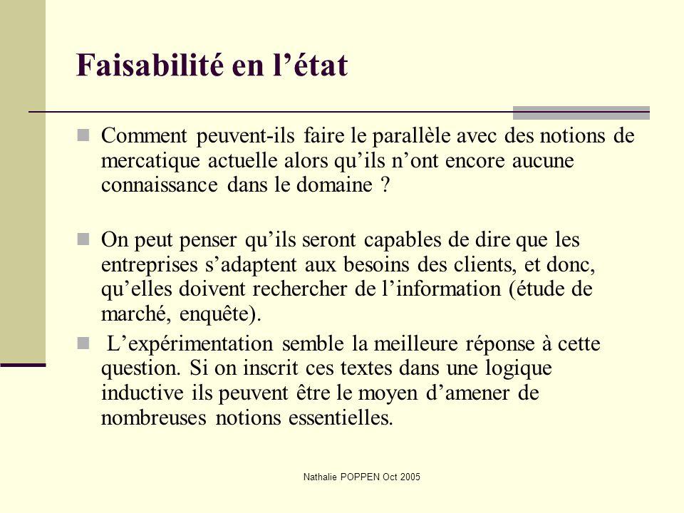 Nathalie POPPEN Oct 2005 Faisabilité en létat Comment peuvent-ils faire le parallèle avec des notions de mercatique actuelle alors quils nont encore a