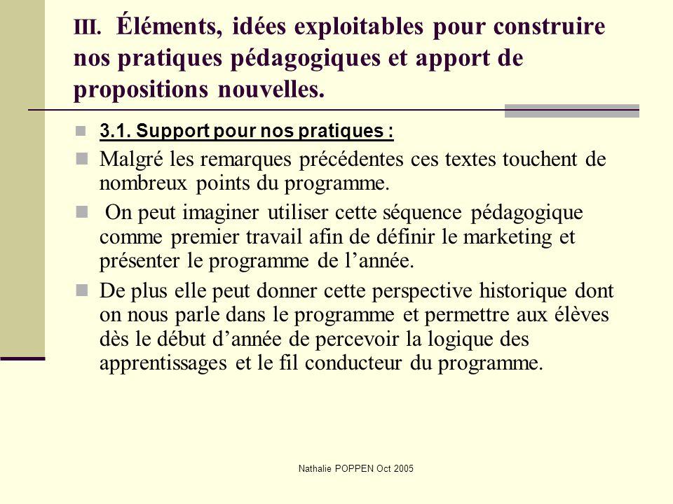 Nathalie POPPEN Oct 2005 III. Éléments, idées exploitables pour construire nos pratiques pédagogiques et apport de propositions nouvelles. 3.1. Suppor