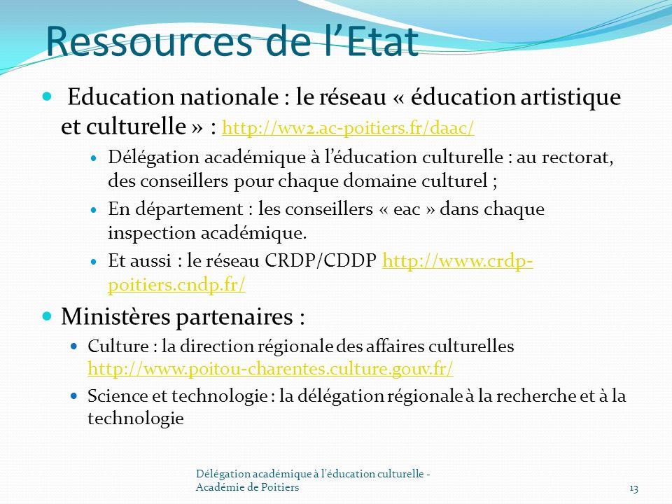 Ressources de lEtat Education nationale : le réseau « éducation artistique et culturelle » : http://ww2.ac-poitiers.fr/daac/ http://ww2.ac-poitiers.fr