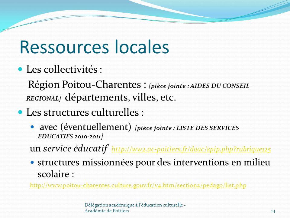 Ressources locales Les collectivités : Région Poitou-Charentes : [pièce jointe : AIDES DU CONSEIL REGIONAL] départements, villes, etc. Les structures