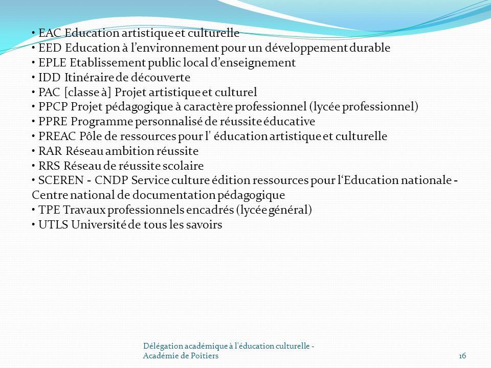 EAC Education artistique et culturelle EED Education à lenvironnement pour un développement durable EPLE Etablissement public local denseignement IDD