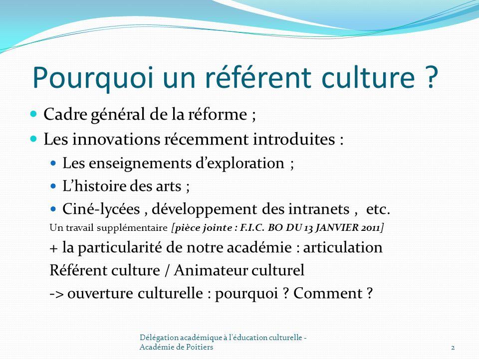 Pourquoi un référent culture ? Cadre général de la réforme ; Les innovations récemment introduites : Les enseignements dexploration ; Lhistoire des ar