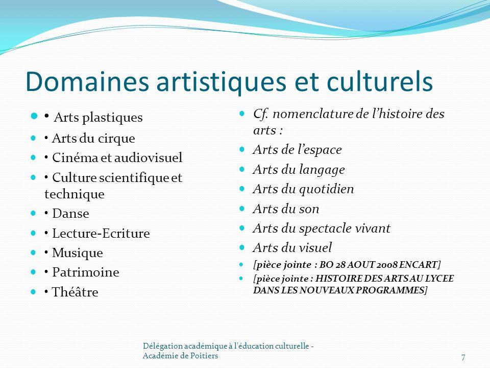 Domaines artistiques et culturels Arts plastiques Arts du cirque Cinéma et audiovisuel Culture scientifique et technique Danse Lecture-Ecriture Musiqu