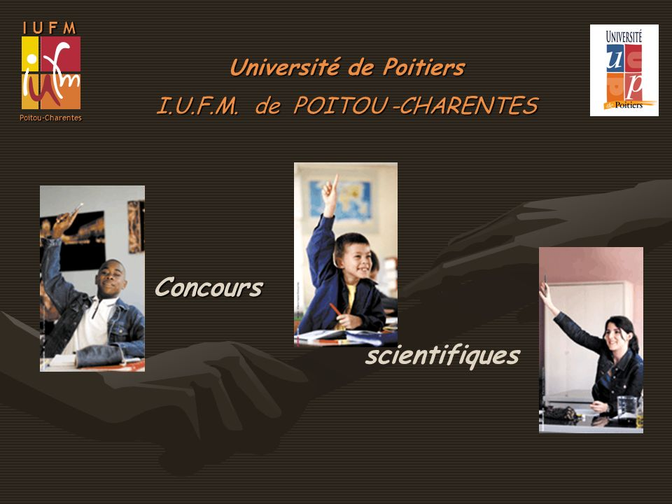 I U F M Poitou-Charentes EffectifsReçus 4230 38,2 %46,2 % 7,6 %17,7 % parts de marché (Candidats IUFM) parts de marché (ens.