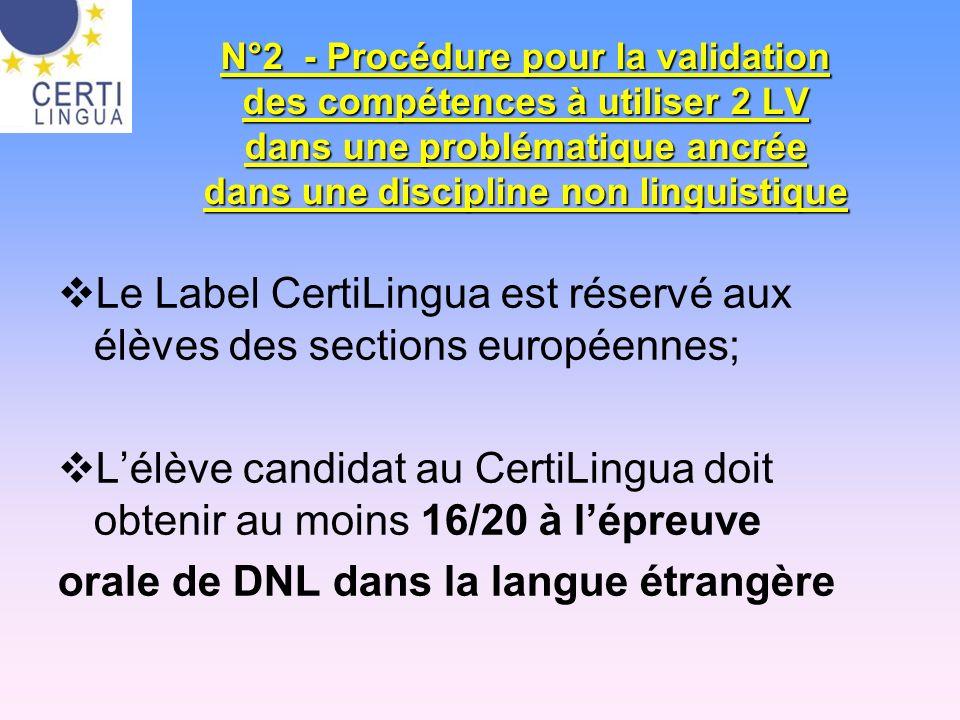 N°2 - Procédure pour la validation des compétences à utiliser 2 LV dans une problématique ancrée dans une discipline non linguistique Le Label CertiLi