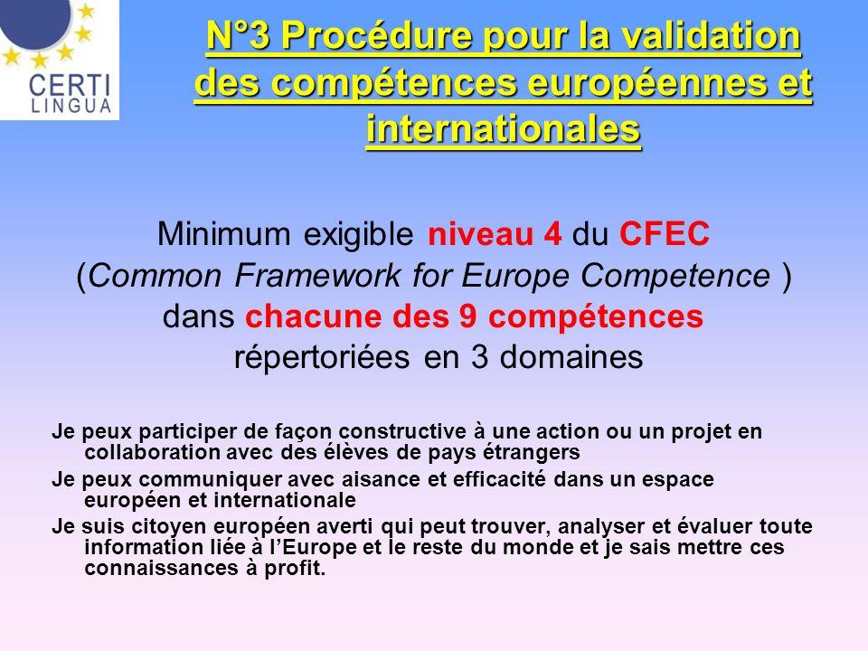 N°3 Procédure pour la validation des compétences européennes et internationales Minimum exigible niveau 4 du CFEC (Common Framework for Europe Compete