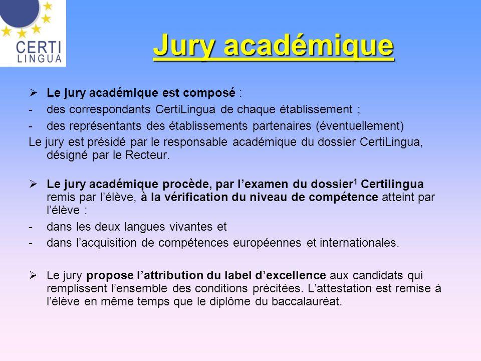 Jury académique Le jury académique est composé : -des correspondants CertiLingua de chaque établissement ; -des représentants des établissements parte