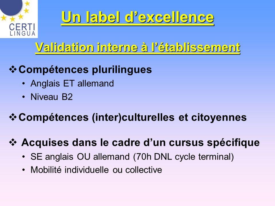 Un label dexcellence Validation interne à létablissement Compétences plurilingues Anglais ET allemand Niveau B2 Compétences (inter)culturelles et cito
