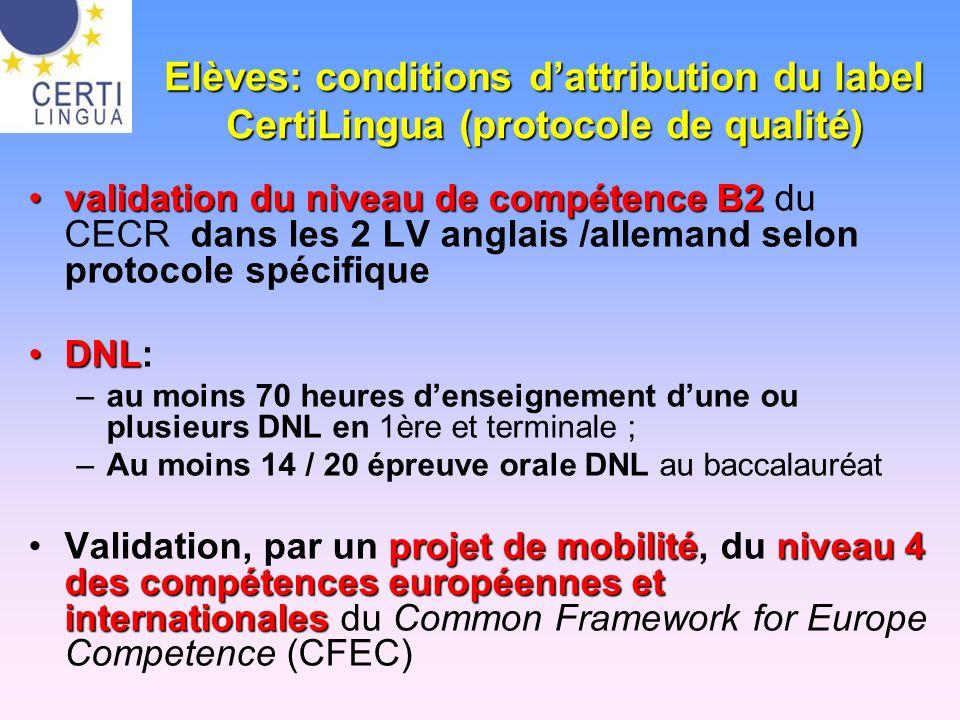Elèves: conditions dattribution du label CertiLingua (protocole de qualité) validation du niveau de compétence B2validation du niveau de compétence B2