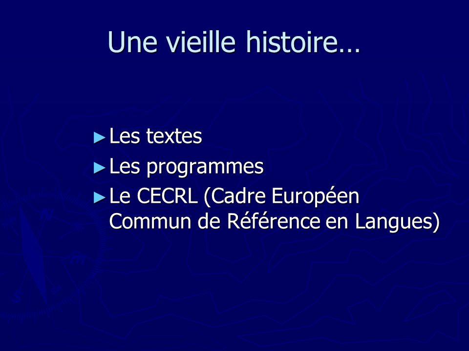 Une vieille histoire… Les textes Les textes Les programmes Les programmes Le CECRL (Cadre Européen Commun de Référence en Langues) Le CECRL (Cadre Européen Commun de Référence en Langues)