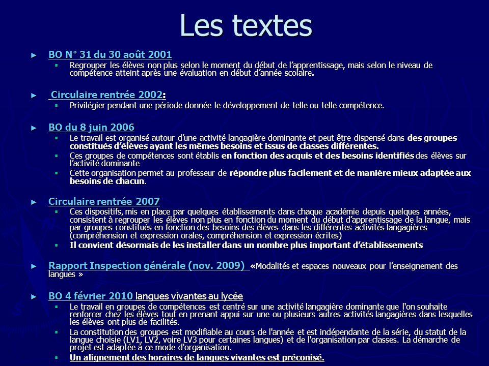 Les textes BO N° 31 du 30 août 2001 BO N° 31 du 30 août 2001 BO N° 31 du 30 août 2001 BO N° 31 du 30 août 2001 Regrouper les élèves non plus selon le