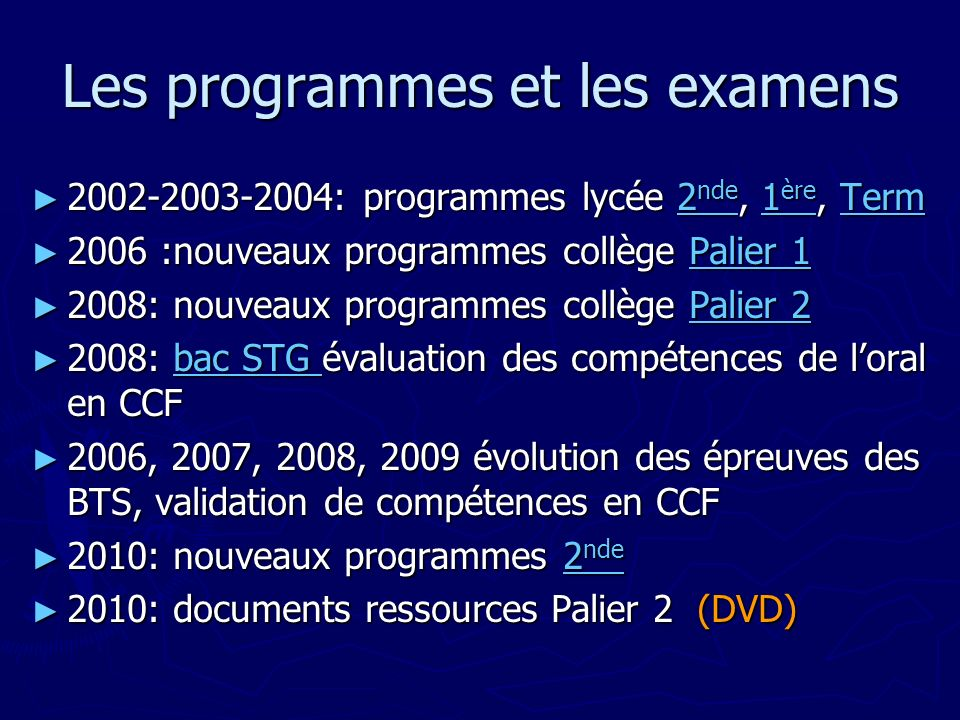 Les programmes et les examens 2002-2003-2004: programmes lycée 2 nde, 1 ère, Term 2002-2003-2004: programmes lycée 2 nde, 1 ère, Term2 nde1 èreTerm2 n