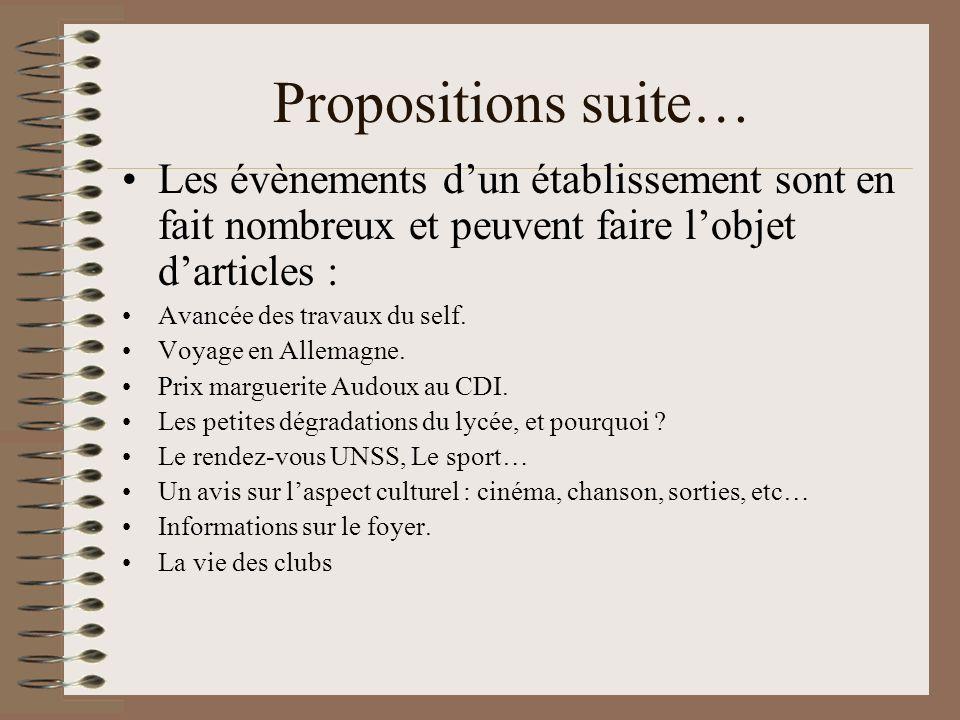 Propositions suite… Les évènements dun établissement sont en fait nombreux et peuvent faire lobjet darticles : Avancée des travaux du self. Voyage en