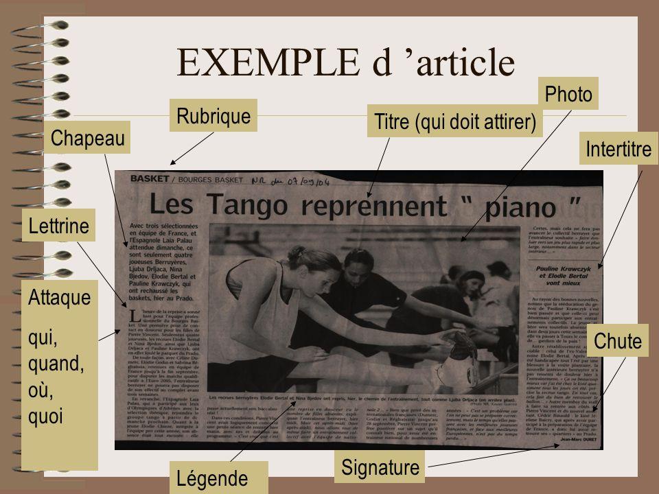 EXEMPLE d article Photo Titre (qui doit attirer) Légende Rubrique Chapeau Signature Attaque qui, quand, où, quoi Intertitre Chute Lettrine