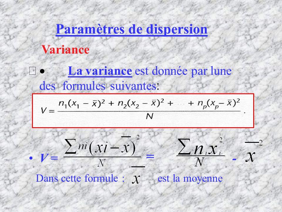 Paramètres de dispersion La variance est donnée par lune des formules suivantes : V = - Variance = Dans cette formule : est la moyenne
