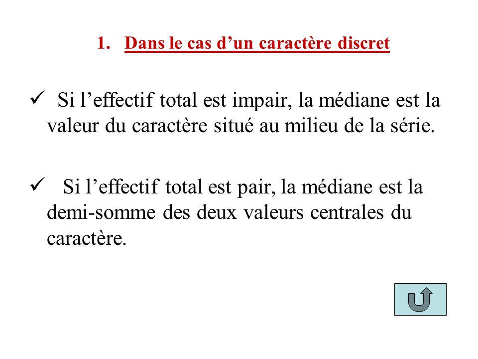 1. Dans le cas dun caractère discret Si leffectif total est impair, la médiane est la valeur du caractère situé au milieu de la série. Si leffectif to