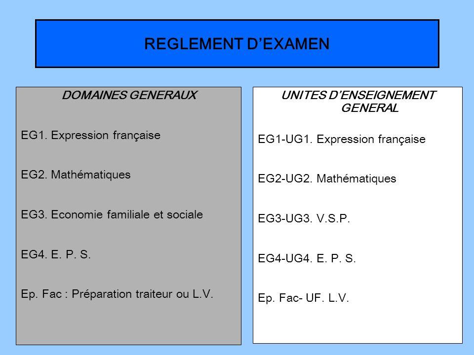 REGLEMENT DEXAMEN DOMAINES GENERAUX EG1. Expression française EG2. Mathématiques EG3. Economie familiale et sociale EG4. E. P. S. Ep. Fac : Préparatio
