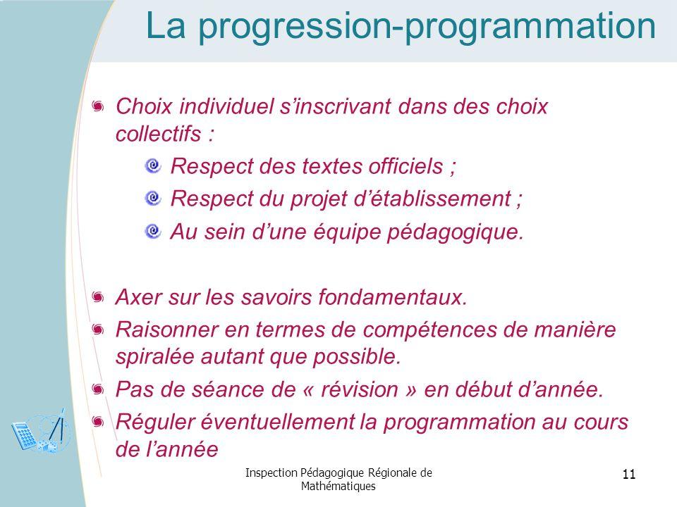 La progression-programmation Choix individuel sinscrivant dans des choix collectifs : Respect des textes officiels ; Respect du projet détablissement