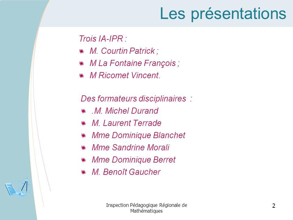 Les présentations Des formateurs disciplinaires :.M. Michel Durand M. Laurent Terrade Mme Dominique Blanchet Mme Sandrine Morali Mme Dominique Berret