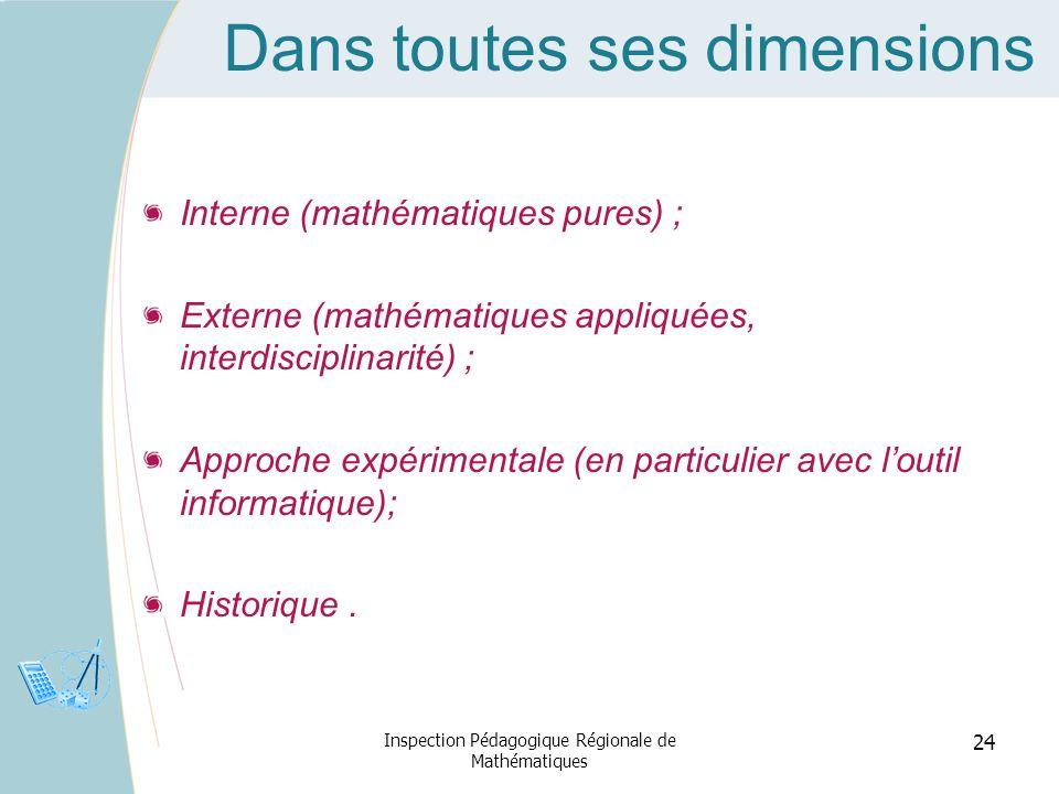 Dans toutes ses dimensions Interne (mathématiques pures) ; Externe (mathématiques appliquées, interdisciplinarité) ; Approche expérimentale (en partic