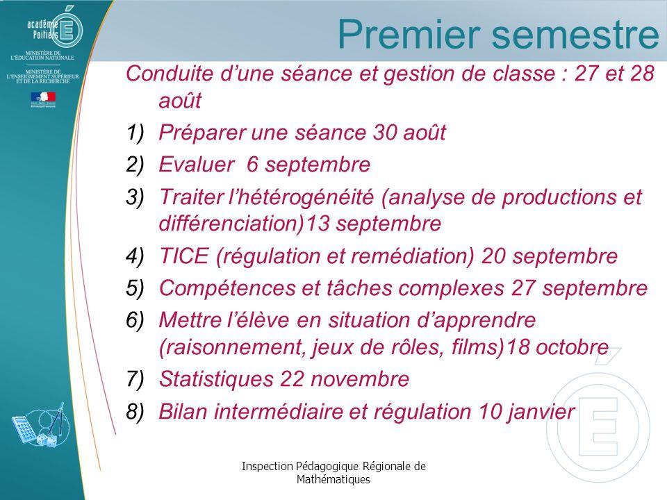 Premier semestre Conduite dune séance et gestion de classe : 27 et 28 août 1) Préparer une séance 30 août 2) Evaluer 6 septembre 3) Traiter lhétérogén