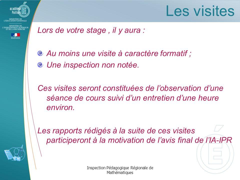 Titularisation Inspection Pédagogique Régionale de Mathématiques Avis du tuteur Avis visiteurs Avis chef détablissement Avis de lIA-IPR Décision du jury