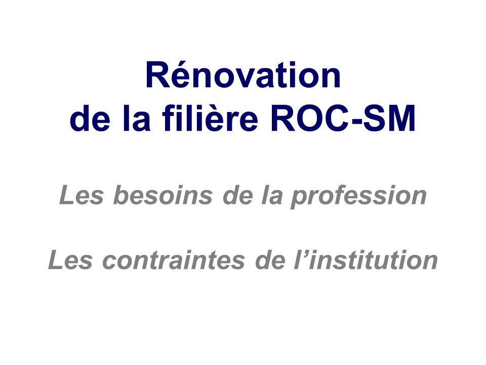 Rénovation de la filière ROC-SM Les besoins de la profession Les contraintes de linstitution