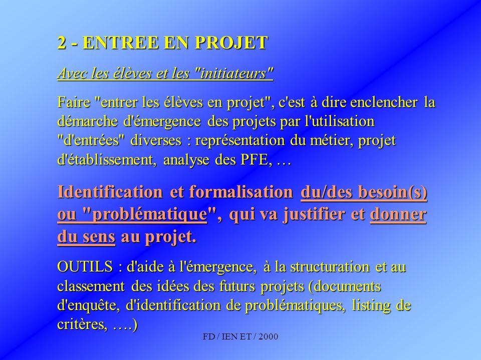 FD / IEN ET / 2000 2 - ENTREE EN PROJET Avec les élèves et les