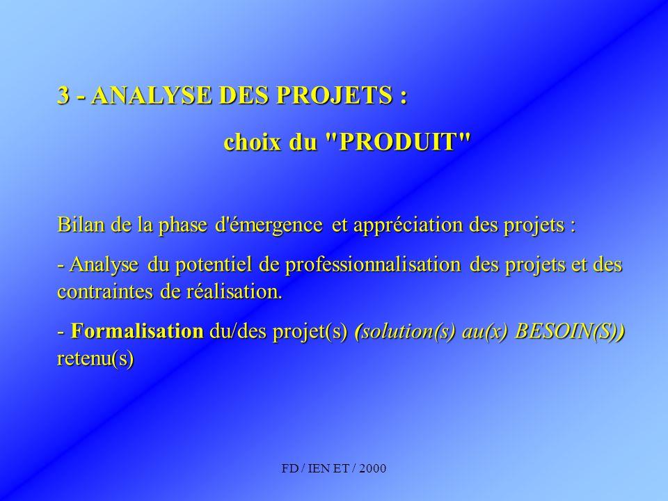 FD / IEN ET / 2000 3 - ANALYSE DES PROJETS : choix du