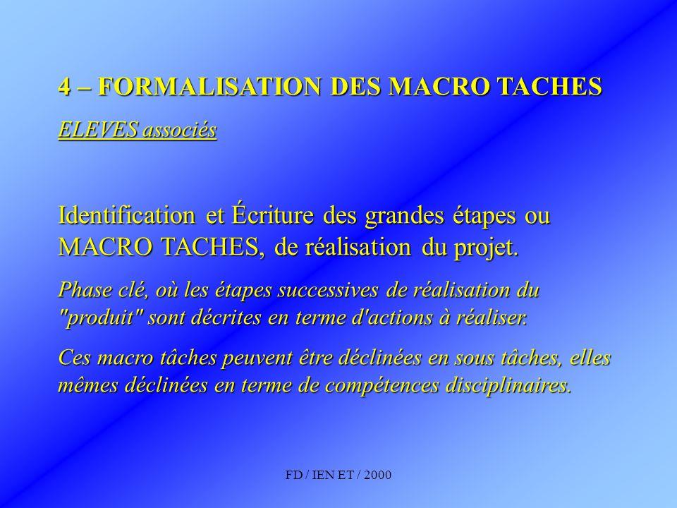 FD / IEN ET / 2000 4 – FORMALISATION DES MACRO TACHES ELEVES associés Identification et Écriture des grandes étapes ou MACRO TACHES, de réalisation du