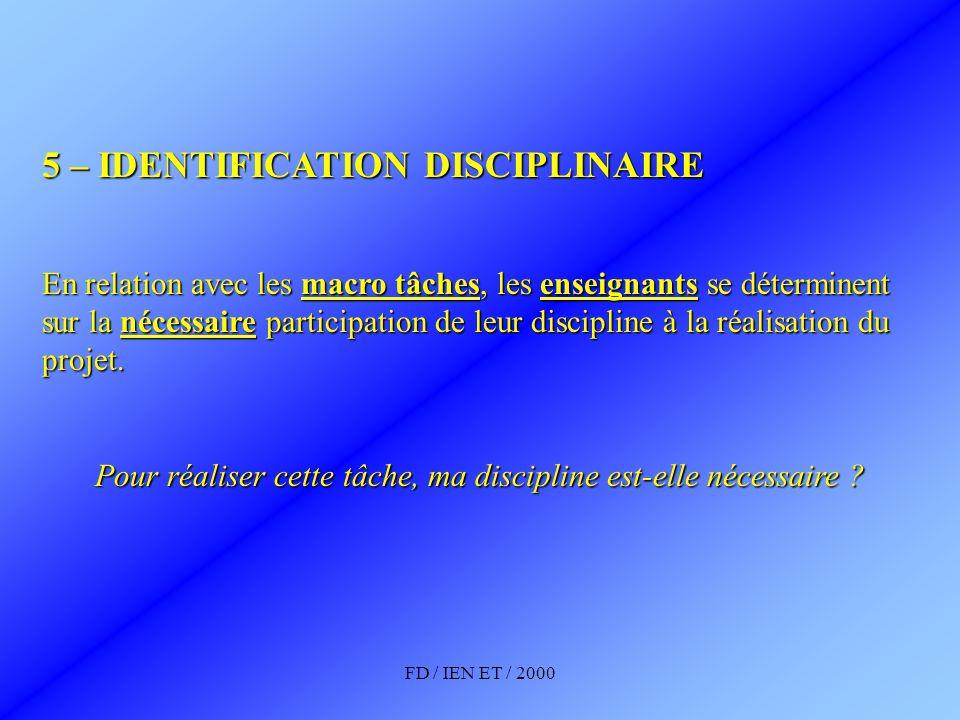 FD / IEN ET / 2000 5 – IDENTIFICATION DISCIPLINAIRE En relation avec les macro tâches, les enseignants se déterminent sur la nécessaire participation