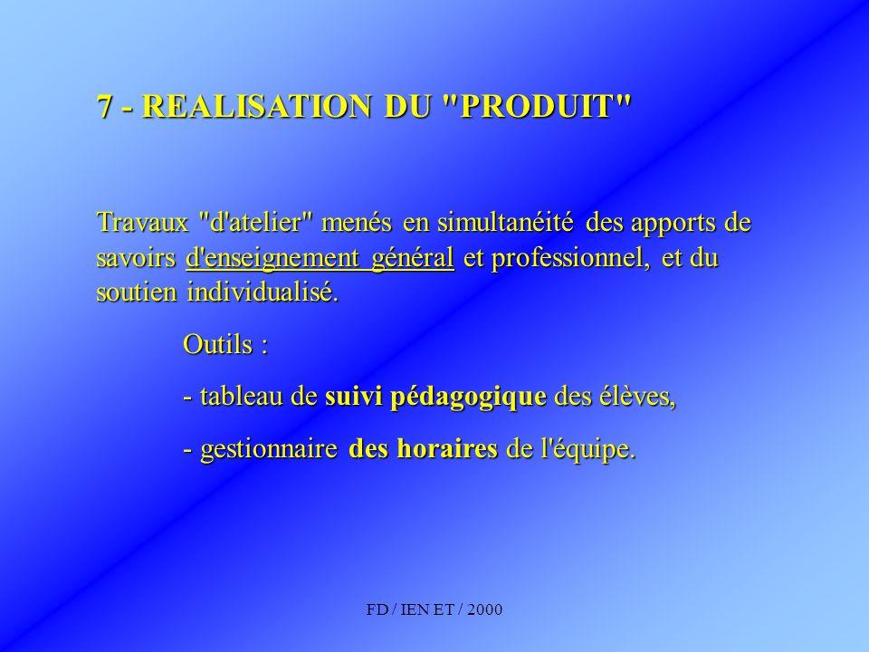 FD / IEN ET / 2000 7 - REALISATION DU