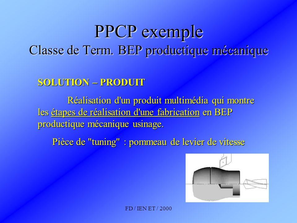 FD / IEN ET / 2000 PPCP exemple Classe de Term. BEP productique mécanique SOLUTION – PRODUIT Réalisation d'un produit multimédia qui montre les étapes