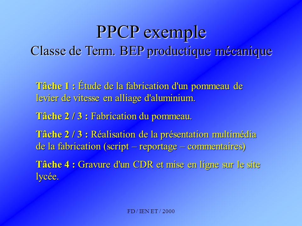 FD / IEN ET / 2000 PPCP exemple Classe de Term. BEP productique mécanique Tâche 1 : Étude de la fabrication d'un pommeau de levier de vitesse en allia