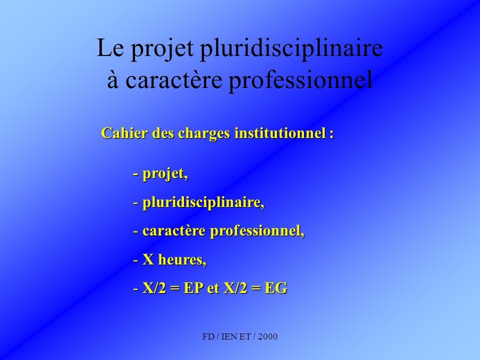 FD / IEN ET / 2000 Le projet pluridisciplinaire à caractère professionnel Déterminants élèves Déterminants professeurs Émergence Appropriation Investissement Accompagnement Coordination Animation