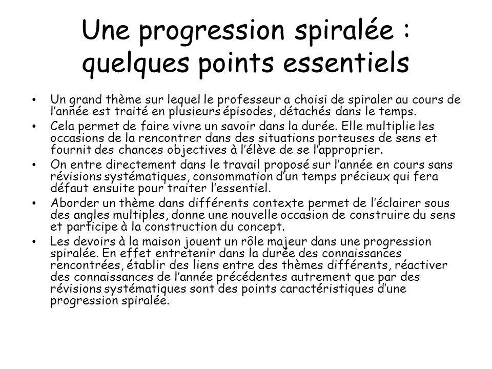 Une progression spiralée : quelques points essentiels Un grand thème sur lequel le professeur a choisi de spiraler au cours de lannée est traité en pl
