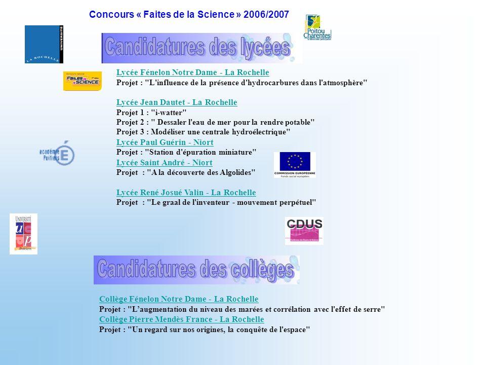 Lycée Fénelon Notre Dame - La Rochelle Projet :