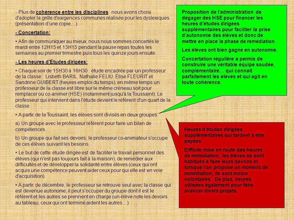 11 - Plus de cohérence entre les disciplines: nous avons choisi d'adopter la grille d'exigences communes réalisée pour les dyslexiques (présentation d