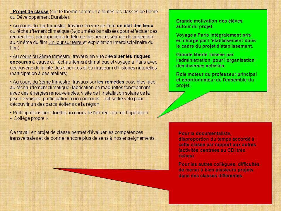 12 - Projet de classe (sur le thème commun à toutes les classes de 6ème du Développement Durable): Au cours du 1er trimestre: travaux en vue de faire